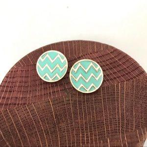 Aqua & Gold Chevron Circle Post Earrings